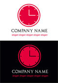 Red clock logo vector — Stock Vector