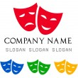Vector de stock : Theatrical masks logo