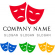 Stock Vector: Theatrical masks logo