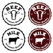Labels beef and milk — Stock Vector #28120909