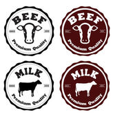 Labels beef and milk — Stock Vector