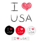 Illustration i love USA — Stock Vector