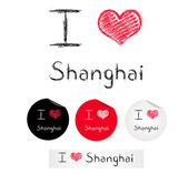 Illustration i love Shanghai — Stock Vector
