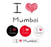 Illustration i love Mumbai — Stock Vector