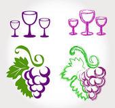 Uva e vini bicchieri - set — Vettoriale Stock