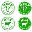 Label beef and milk — Stock Vector