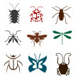 Set of insects a fly, a dragonfly, a mosquito, centipede, beetle, butterfly. — Stock Vector #31033369