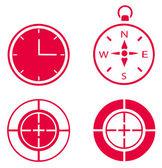 Illustration de l'horloge, boussole et but — Vecteur
