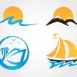 Set of travel icons mountains, waves, yacht — Stock Vector