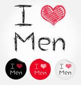 I love men — Stock Vector