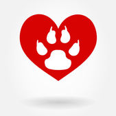 Love Paw Print — Stock Vector