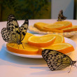 Royalty-Free Stock Photo: Butterflies sitting on the plate