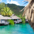 Stock Photo: Tahiti bungalows