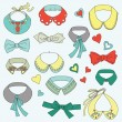 Cute set of rendy collars and bow ties - Stock Vector