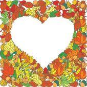 Kalp şeklinde vektör arka plan sonbahar yaprakları — Stok Vektör