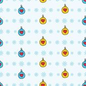 Cute seamless pattern with snowflakes and christmas tree decorations / New Year theme seamless pattern — Stock Vector