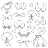 Set of fashion collars and bows, bow ties, accessories and hearts — Stock Vector