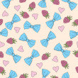 Beautiful seamless pattern with bows and raspberries — Vektorgrafik