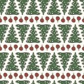 Christmas and New Year seamless pattern with fir trees and decorations — Stock Vector