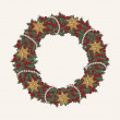 Christmas wreath made from lot of mistletoe on white background with gold stars and pearl strings — Stock Vector #14895371