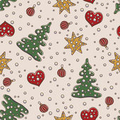 Merry Christmas and New Year seamless pattern with fir trees, stars, hearts and pearls — Stok Vektör