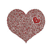 Heart-shaped design element made of red pearls or beads / Love concept — Stock Vector