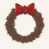 Christmas wreath made from lot of mistletoe on white background with a red bow — Stock vektor