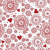 Beautiful floral seamless pattern with hearts — Stock Vector