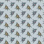 Seamless geometric pattern / Sea shells and animals — Stock Vector