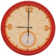 Red wall clock on white — Stock Photo