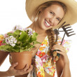 Stock Photo: Young womgardener