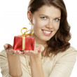 Stock Photo: Young woman with a gift