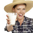 Young woman  drinking milk — Stock Photo