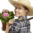 Young woman   gardener - Stock Photo