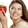Stock Photo: Young womwith gift