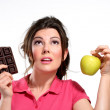 Young woman diet meal chocolate - Stock Photo