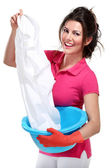 Young housewife cleaning — Stock Photo