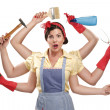 Pretty very busy multitasking housewife on white — Stock Photo #28001549
