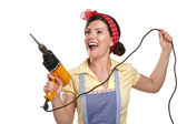 Pretty funny girl struggling with some housework — Stock Photo