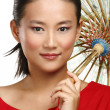 Beautiful chinese girl with traditional homemade umbrella — Stock Photo #37461133