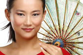 Beautiful chinese girl with traditional homemade umbrella — Stock Photo