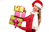 Christmas Santa hat  woman portrait hold christmas gift — Stock Photo