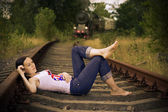The girl on rails — Stock Photo