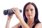 The girl with binoculars — Stock Photo