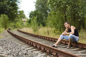 The guy on rails — Stock Photo