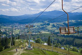 Ski lifts in the mountains — Stock Photo