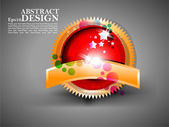 Eps10 vector abstracto shiney lable oro diseño en gris centrico — Vector de stock