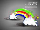 Vector colorido abstractos nube diseño arte en fondo gris. — Vector de stock