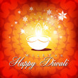 Beautiful vector diwali diya in shiny glowing  color background — Stock Vector
