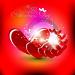 Stock Vector: Beautyful red color valentines day background with shiny heart.